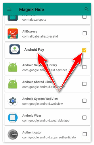 Android Pay в Magisk Hide
