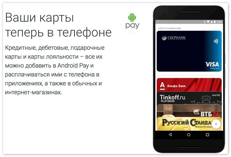Банковские карты в Андроид Пей