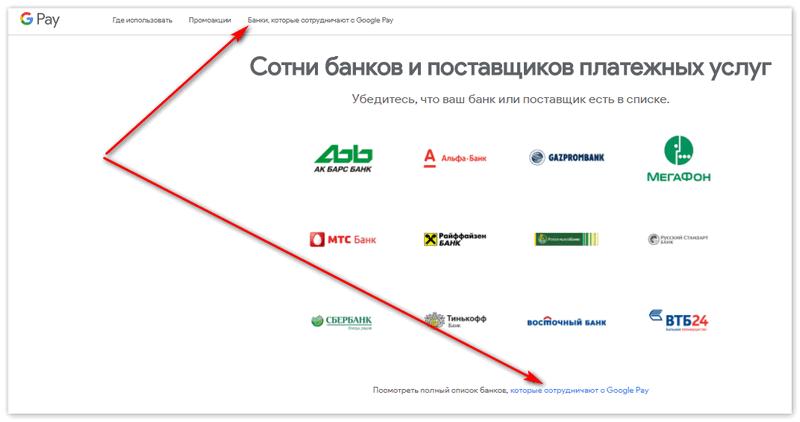 вкладка Банки которые работают с Гугл Пей