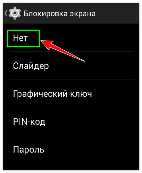 Вкладка Нет в Блокировки экрана телефона