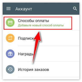 Вкладка Способы Оплаты в Аккаунте Гугл