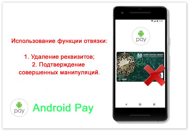 Android Pay отвязать карту