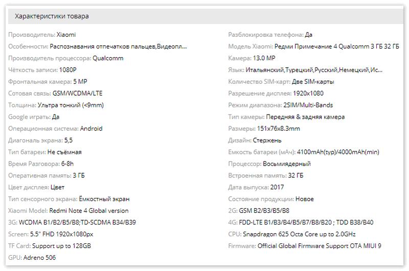 Характеристики Xiaomi
