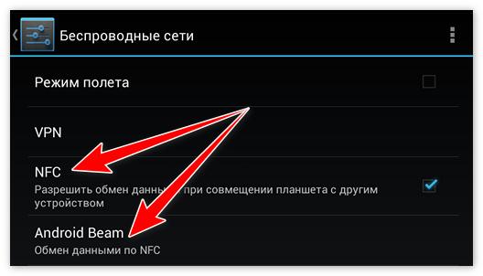 Опции NFC и Android Beam в телефоне