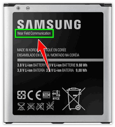 Пометка Near Field Communication на батарее телефона Самсунг