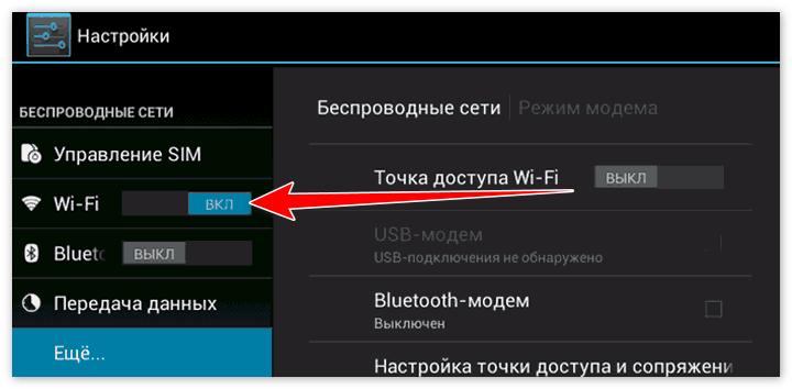 Включение wi-fi на телефоне