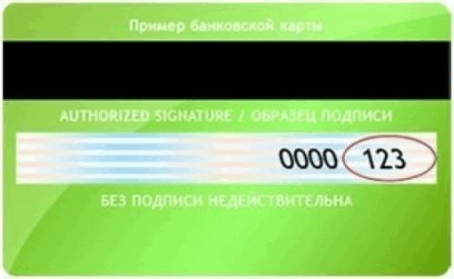 CVV код карта Сбербанка