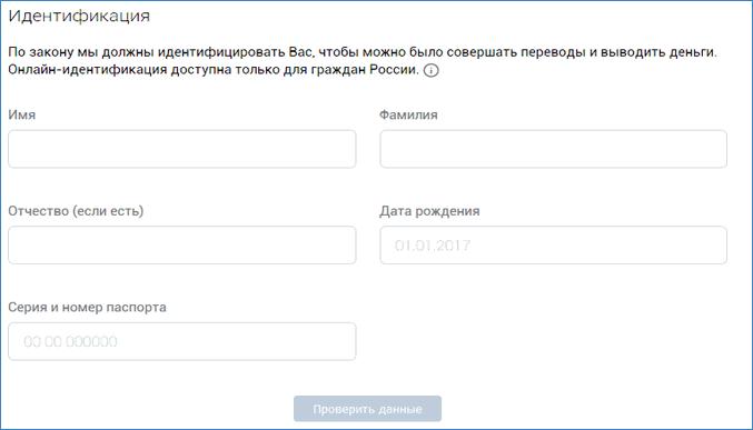 Заполнение анкеты участника VK Pay
