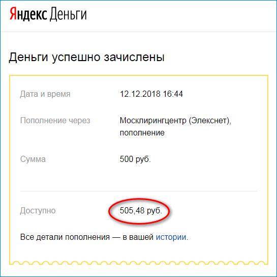 Электронное письмо от Яндекс.Деньги