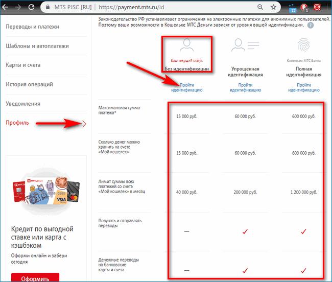 Идентификация ссылка MTS Pay