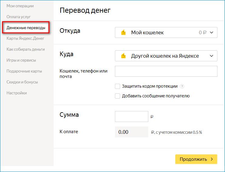 Перевод денег Яндекс Деньги