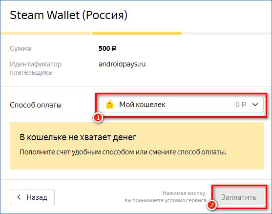 Подтверждение оплаты Steam на сайте Яндекс Деньги