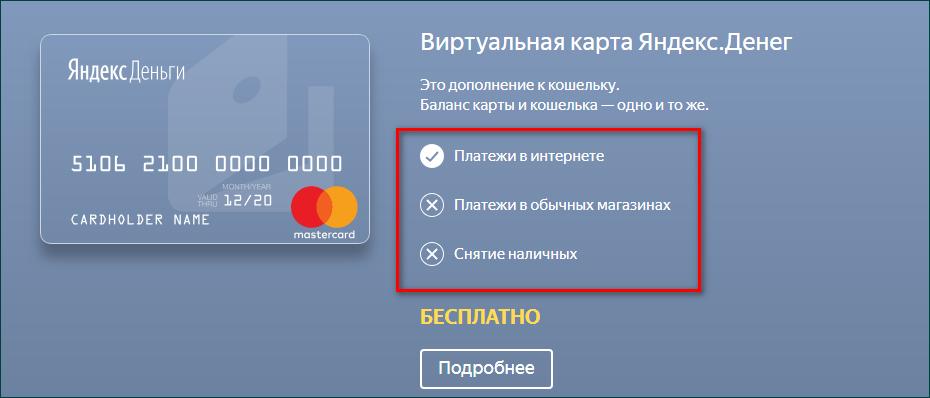 Снятие с виртуальной карты Яндекс Деньги