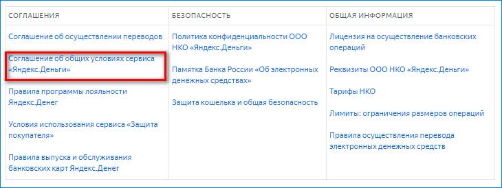 Соглашение об использовании Яндекс Деньги