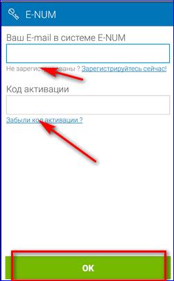 Вход в приложение E-num