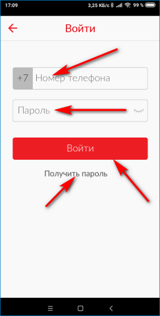 Ввод логина и пароля MTS Pay