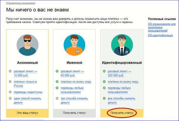Выбор нужного статуса в Яндекс.Деньги