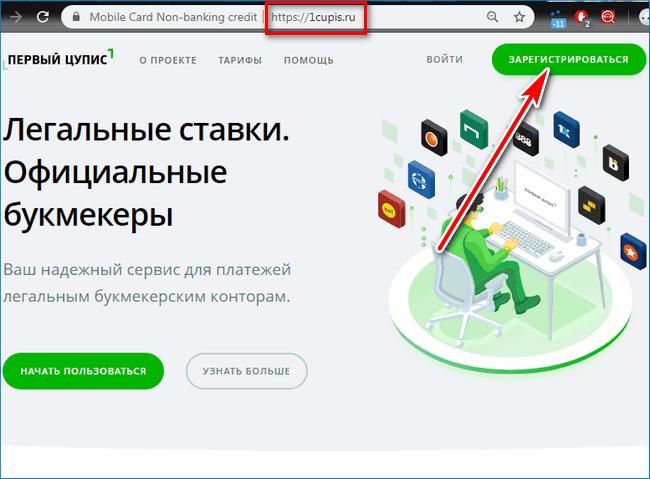 Кнопка регистрации ЦУПИС