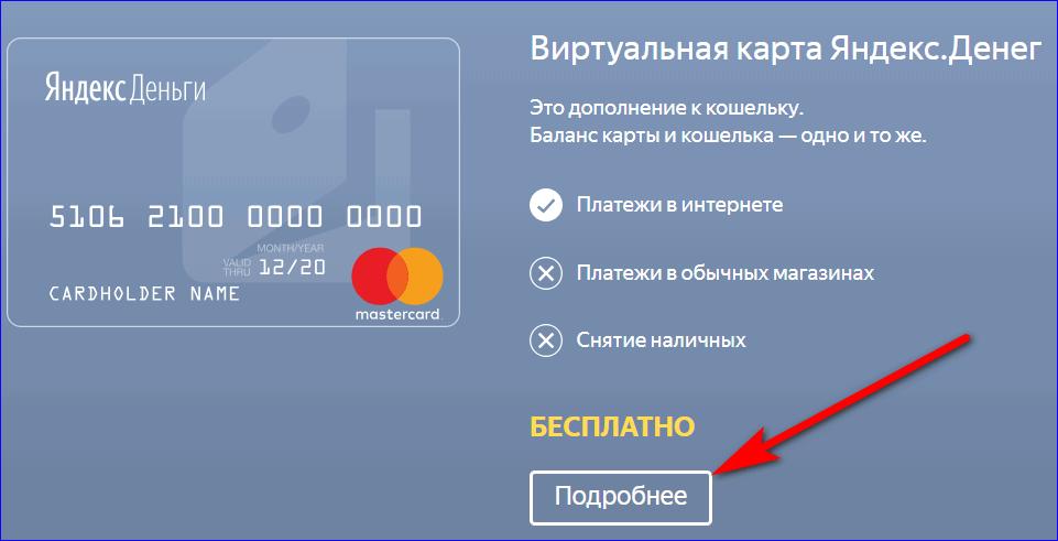 Виртуальная карта яндекс денег