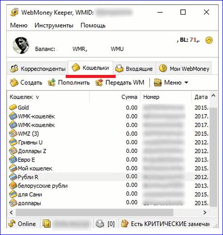 Вкладка Кошельки в WinPro