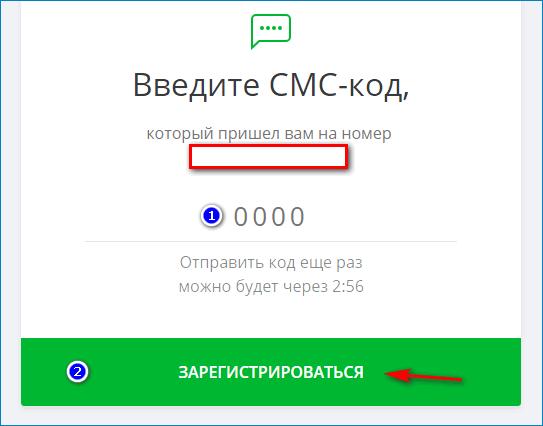 Введение кода из СМС в ЦУПИС