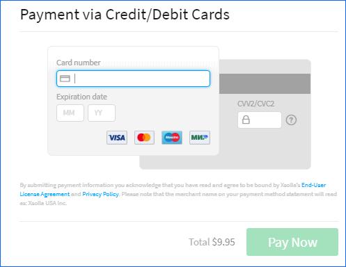 Ввод реквизитов банковской карты
