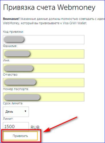 Заполнение идентичных данных Вебмани Киви