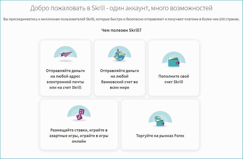 Основные функции Skrill