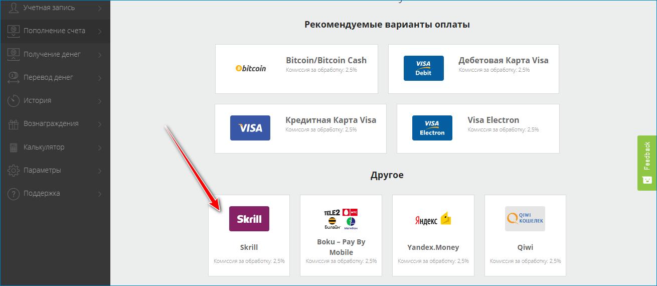 Пополнение через платежную систему Skrill
