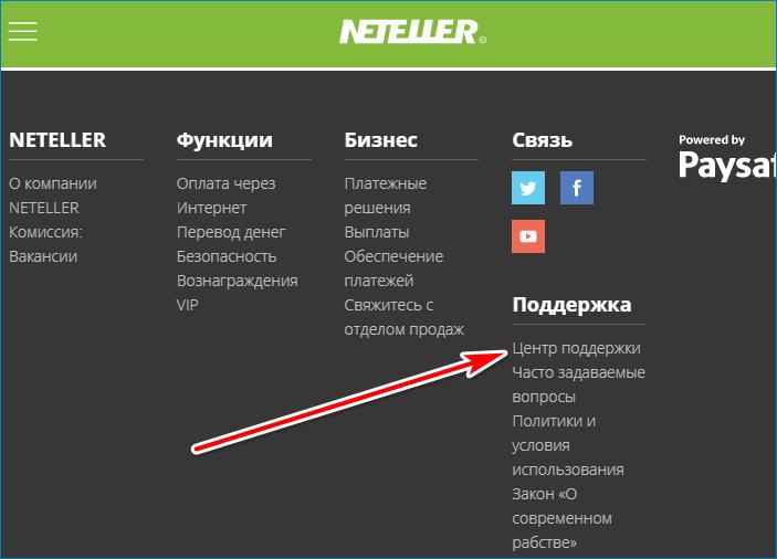 Центр поддержки Neteller